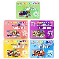 Trọn Bộ 5 Thẻ Học Flash Card Song Ngữ Quốc Kỳ Của Các Quốc Gia Thuộc 5 Châu Lục Cho Trẻ Phát Triển Tư Duy, Trí Tuệ- Thẻ Học Thông Minh
