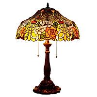 Đèn bàn hoa hồng Tiffany kiểu dáng sang trọng dành cho phòng khách và phòng ngủ