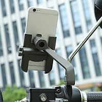 Giá kẹp điện thoại xoay 360 độ hợp kim C2 cao cấp, gắn chân gương bên trái (Màu đen)