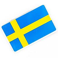 Sticker hình dán metal cờ Thụy Điển Sweden - Miếng lẻ