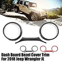 Dashboard Instrument Panel Gauge Cover Trim Bezel For 2018 Jeep Wrangler JL --- Carbon fiber