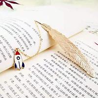 Bookmark Kim Loại Đánh Dấu Sách Hình Lông Vũ Dây Treo - Tàu Không Gian