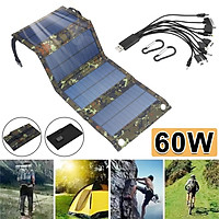 60W Foldable Solar Panel With 10-in-1 USB Cable Solar Folding Charger Waterproof 2 Hooks Durable for Phone Backpack Ca