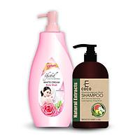 Mua dầu gội dược liệu giảm rụng tóc chiết xuất sả chanh, bưởi Ecoco 336g Tặng Sữa tắm kem trắng Thebol 3 Plus 750g