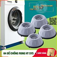 Bộ 04 chân đế cao su chống rung máy giặt - HT SYS - Đế chống rung máy giặt - Đế chống ồn máy giặt, máy sấy,tủ lạnh, bàn ghế + Sét 3 móc dính dán tường vàng tài lộc HT SYS
