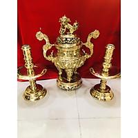 Bộ đỉnh đồng thờ cúng tam sự rồng vàng(đôi nến)