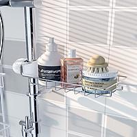Kệ inox treo miếng rửa chén đựng đồ xà bông không gỉ có chốt gắn vào vòi nước hàng hộp