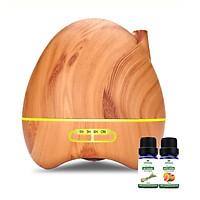Máy khuếch tán ống khói vân gỗ sáng FX2038 + Tinh dầu sả chanh (10ml) + Tinh dầu bưởi chùm (10ml)