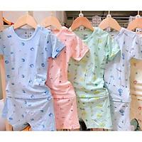 Bộ quần áo CỘC TAY cotton thun lạnh Minky mom cho bé sơ sinh từ 0-18 tháng