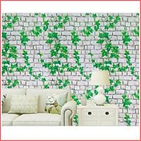 Giấy dán tường gạch dây leo màu xanh khổ rộng 45cm có keo sẵn, giấy decal dán tường dây leo màu xanh