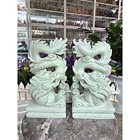 Cặp Rồng đứng phong thủy đá cẩm thạch trắng xanh - Cao 30 cm