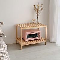 Giá kệ gỗ lò vi sóng Diwali hình chữ nhật 2 tầng đa năng dài 66cm rộng 40cm cao 50cm - Gỗ thông NewZealand - Màu vàng nhạt - Có vân gỗ đẹp