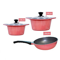 Combo 3 món cao cấp, bộ 2 nồi đúc ceramic 2 tay cầm (size 18-24cm) màu hồng  và Chảo đúc chống dính vân đá Hàn Quốc sâu lòng size 26cm màu hồng - Hàng chính hãng