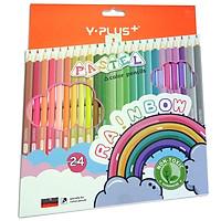 Bút Chì Màu Gỗ YPLUS+ Pastel-Rainbow 24 Màu Có Chuốt PC200200-RB