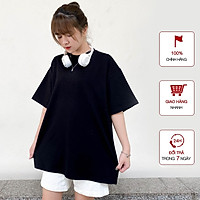 Áo Thun nữ WinBeen phong cách ulzzang form rộng tay lỡ vải cotton mềm mát 2 màu đen trắng cơ bản
