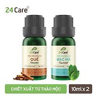 Combo 2 Tinh dầu Quế + Bạc Hà 24Care 10ml/Chai