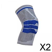 2xKnee Brace Kneepad Sports Stabilizer Silicone Gel Knees Support Pad Gray XXL