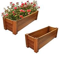 Bộ 2 Chậu gỗ trồng cây Chữ nhật -chuyên dùng ngoài trời - chịu nước tốt, xử lý chống mốc, thân thiện với môi trường - dễ lắp rắp và vận chuyển - D85xR30xC30cm