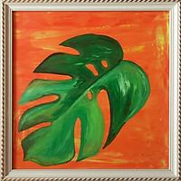 Tranh sơn dầu lá rừng nhiệt đới 04