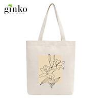 Túi Tote Vải Mộc GINKO Dây Kéo In Hình Minimalism Art M40