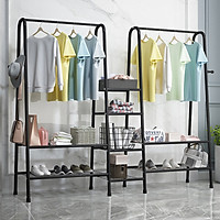Giá treo quần áo 8 ngăn 2 thanh SIÊU CHƯA ĐỒ DOUBLE HANGER phong cách Hàn Quốc cao cấp cho cửa hàng VANDO, kệ giày kệ để đồ treo đồ tiện ích
