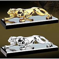 Tượng báo phong thủy mạ vàng, bạc đính đá cao cấp (tặng kèm đế giữ và tinh dầu)