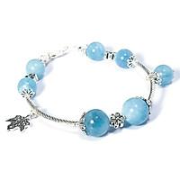 Vòng tay Hải lam ngọc Aquamarine mix charm bạc Thái cao cấp BRAQU08M03 VietGemstones