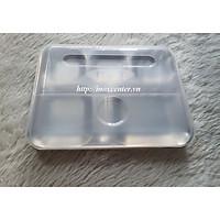 Khay cơm inox 5 ngăn, inox 304 có nắp nhựa