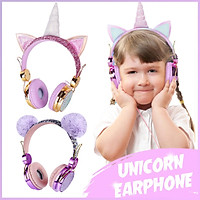 4Colors 3Type Cute Cartoon Headset Wired Earphones with Microphone Music Stereo Computer Earphone Mobile Phone for Kids Christmas Birthday Gift
