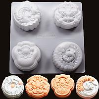 Khuôn Làm Bánh Trung Thu Rau Câu 4 Bánh 150-180gr
