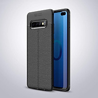 Ốp lưng Silicon Auto Focus giả da, chống sốc dành cho Samsung S10 Plus - Hàng Chính Hãng