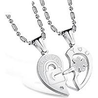 Dây chuyền cặp đôi chìa khóa - ổ khóa trái tim tình yêu ý nghĩa vĩnh viễn không đen