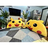 Gối tựa đầu giường Pikachu vàng, cỡ XL, vỏ nhung ruột bông