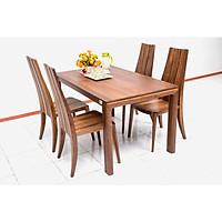 Bộ bàn ăn 4 ghế Nội Thất Nhà Bên NAN 12 140 x 85 x 75cm (Nâu)