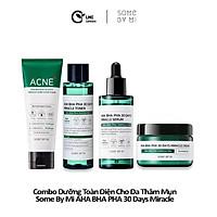 Bộ 4 sản phẩm dưỡng toàn diện cho da thâm mụn Some by mi AHA BHA PHA 30 days miracle cleanser, toner, serum, cream full