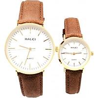 Cặp đồng hồ Nam Nữ Halei HL541 Dây da nâu