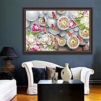 Tranh dán tường CỬU NGƯ QuẦN HỘI in giấy ảnh với 2 lựa chọn bề mặt cán PVC gương hoặc cán bóng kính, Mã số: 00400457L12