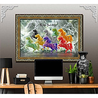 Bức tranh ngựa treo tường bát mã - MÃ ĐÁO THÀNH CÔNG chất liệu in vải lụa hoặc giấy ảnh bóng gương Mã số:L8F-00401539L8
