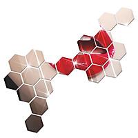Miếng Gương Dán Tường Acrylic DIY 3D Hình Lục Giác