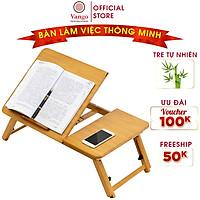 Bàn học, làm việc gấp gọn bằng gỗ tre tự nhiên Vango V1 có kệ để laptop & sách, thiết kế hiện đại, đa năng, sang trọng, sơn phủ bóng chống nước cực tốt