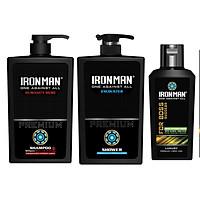 Combo dầu gội Ironman Humanity Hero 650g + Sữa tắm Ironman Encounter 650g + Dung dịch vệ sinh nam tinh chất thảo dược Ironman For Boss120g