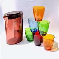 Bộ Bình, 6 ly nhựa Acrylic cao cấp Song Long- Màu sắc phong thủy, trộn màu ngẫu nghiên