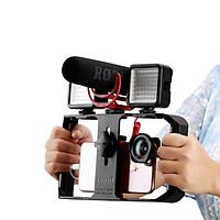 Phụ Kiện Quay Phim | Smartphone Video Rig/Grip, Dụng Cụ Hỗ Trợ Quay Trên Điện Thoại, Phiên Bản Mới, 3 Chân Đế Ẩn Có Thể Tích Hợp Thêm Micro, Đèn Led Trợ Sáng - Hàng Chính Hãng