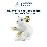 Tượng chuột sứ Minh Long 8 cm - màu trắng - trang trí vàng 24K (tượng chuột Phú)