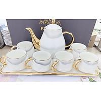 Bộ ấm chén kèm khay sứ sương pha trà cà phê dáng bầu trắng vân mây xám phong cách Châu Âu - ANTH33