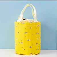Túi đựng cơm tròn dây rút QSND 002 vải Linen hoạ tiết dễ thương (size 19x20 cm)