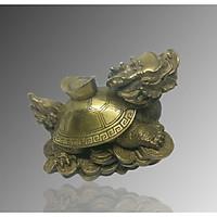 Long quy đồng vàng cõng thỏi vàng 13cm
