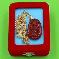 Dây chuyền phật Đại Nhật Như Lai - thạch anh đỏ 3.6cm DIVTOB5 - dây inox - kèm hộp nhung - tuổi Mùi, Thân