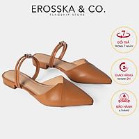 Giày Bít Mũi Phối Dây Thời Trang Erosska EL004 (Màu vàng bò)