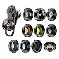 Bộ 11 mắt len chuyên nghiệp cho điện thoại APEXEL APL-DG11 gồm len siêu phóng 140° và len mắt cá góc rộng 205°